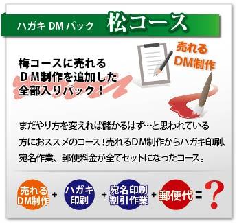 DMデザインから発送作業までDMに関することすべてをセットにした松コース